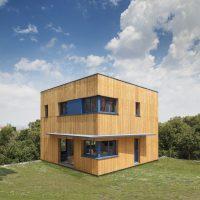 Façana ventilada de fusta casa a la FLoresta - Papik Cases Passives